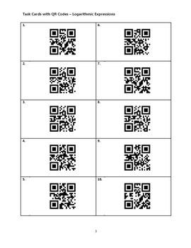 Task Cards With QR Codes - Logarithmic Expressions