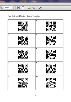 Task Cards With QR Codes - Order of Operations