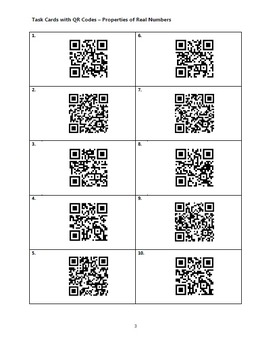 Task Cards With QR Codes - Properties of Real Numbers
