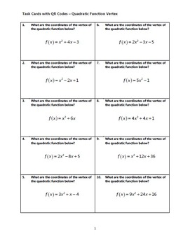 Task Cards With QR Codes - Quadratic Function Vertex