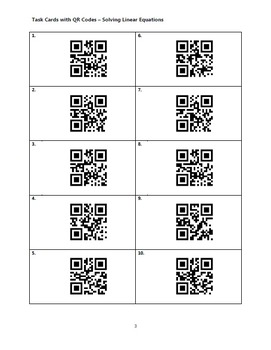 Task Cards With QR Codes - Solving Linear Equations
