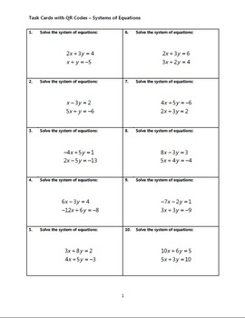 Task Cards With QR Codes - Systems of Equations
