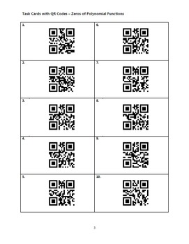 Task Cards With QR Codes - Zeros of Polynomial Functions