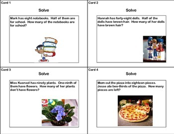 Task Cards Word Problems Grades 4-5  Fractions  Common Core