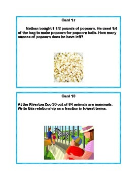Task Cards Word Problems Grades 5-6 Common Core