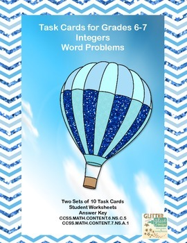 Task Cards Word Problems- Integers- Grades 6-7 Common Core