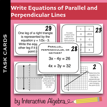 Task Cards: Write Equations of Parallel and Perpendicular Lines