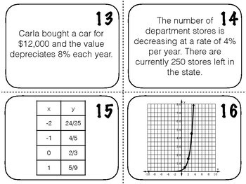 Task Cards: Writing Exponential Equations from Tables, Graphs, & Word Problems