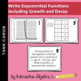 Task Cards: Write Exponential Functions including Growth and Decay