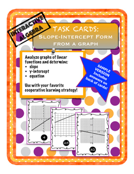 Task Cards Y=MX+B From a Graph SAMPLE Version