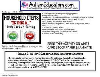 """Task Cards YES or NO HOUSEHOLD ITEMS """"Task Box Filler"""" for Special Education ELL"""