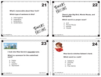 Task Cards aligned with Towers Falling book written by Jewell Parker Rhodes