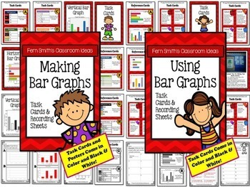 Task Cards Picture Graphs Bar Graphs Line Plots & Tables to Organize Data Bundle