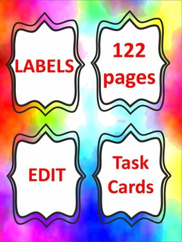 Classroom Decor - BUNDLE - Labels - Task Card Templates Editable
