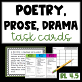 Prose, Poetry, and Drama Task Cards and Poster RL 4.5