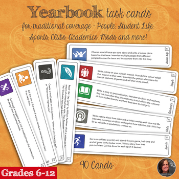 Yearbook Task Cards and Story Ideas for Yearbook