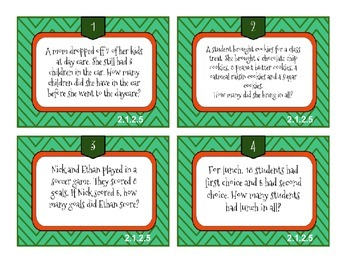 Real World Problems -Task Cards Math, MN standard 2.1.2.5