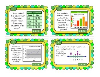 Tables, Bar Graphs & Tally Charts - Task Cards Math, MN standard 2.1.2.6