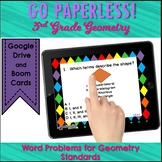 Word Problem Task Cards for 3rd Grade Geometry DIGITAL and