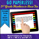 Word Problem Task Cards for 3rd Grade Math Numbers and Operations in Base Ten
