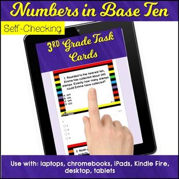 Test Prep Task CardsGoogle Classroom™ Base Ten 3rd Grade Math Review
