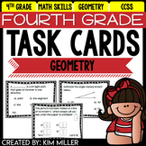 Math Test Prep Task Cards - 4th Grade Geometry Math Centers & Review