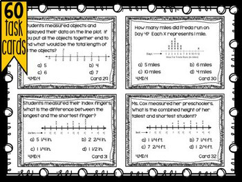 Fourth Grade Math Review: Task Cards - Measurement & Data - 4.MD