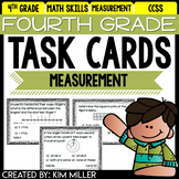 Math Test Prep Task Cards - 4th Grade Measurement & Data Math Centers & Review