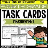 Math Test Prep Task Cards - 4th Grade Measurement & Data Math Centers & Review
