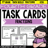 Math Test Prep Task Cards - 4th Grade Fractions Math Centers & Review