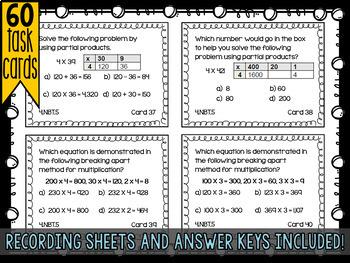 Fourth Grade Math Review: Task Cards - Number & Operations - 4.NBT