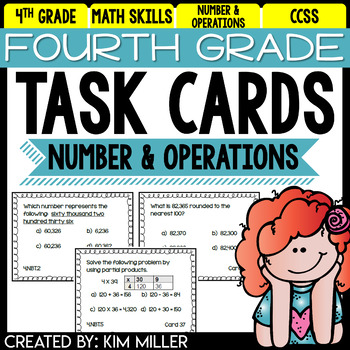 Fourth Grade Math Review: Task Cards - Number & Operations