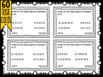 Fourth Grade Math Review: Task Cards - Algebra - 4.OA