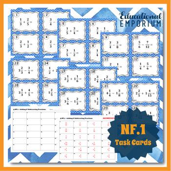 5th Grade Fraction Task Cards 5NF: ALL NF Task Cards Fractions Grade 5 Fractions