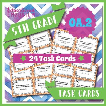 5th Grade Math Task Cards Bundle - ALL Operations & Algebraic Thinking (OA) CCSS