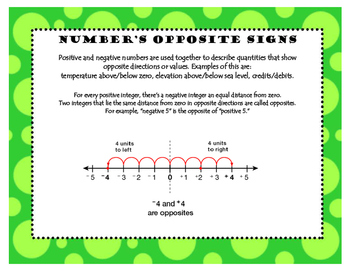 Task Cards for Absolute Value, Opposite +/- Integers, and Ordering +/- Integers