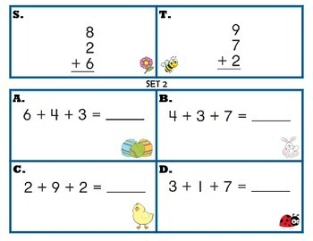 Task Cards for Adding 3 Numbers