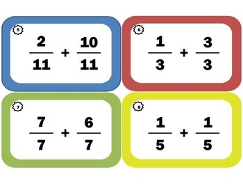 Task Cards for Adding Fractions with Common Denominators