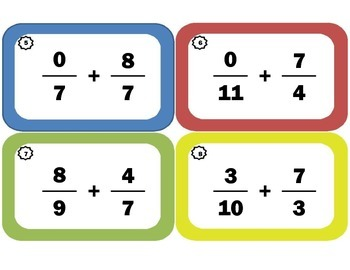 Task Cards for Adding Improper Fractions