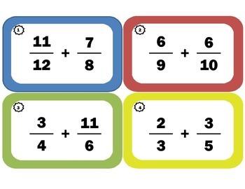 Task Cards for Adding Improper Fractions