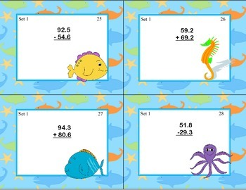 Task Cards for Adding and Subtracting Decimals Grades 4-5 Ocean Theme