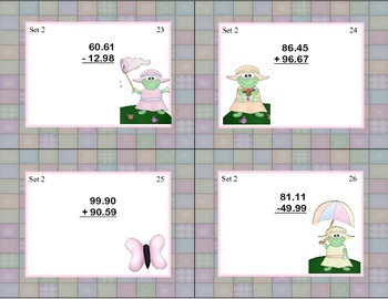 Task Cards for Adding and Subtracting Decimals Grades 4-5 Spring Theme