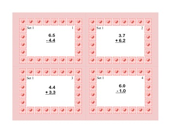 Task Cards for Adding and Subtracting Decimals Grades 4-5 Valentine's Theme