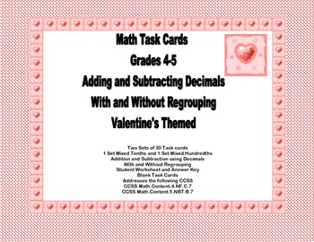 Task Cards for Adding and Subtracting Decimals Grades 4-5