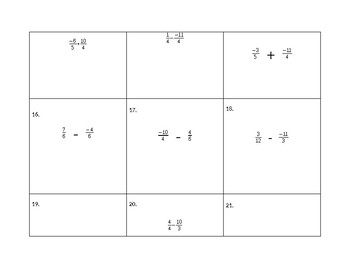 Task Cards for Adding and Subtracting Unlike Fractions