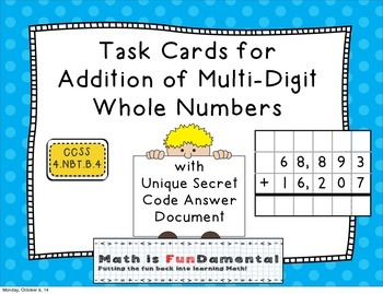 Task Cards for Addition of Multi-Digit Numbers 4.NBT.B.4