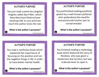 Task Cards for Author's Purpose 3rd - 5th Grade