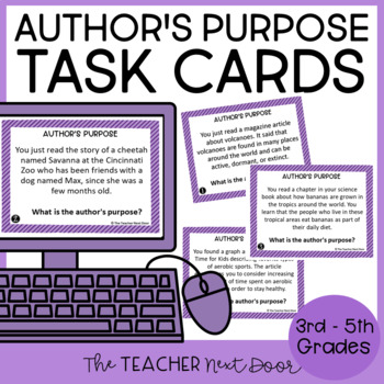 Task Cards for Author's Purpose    Author's Purpose 3rd - 5th Grade