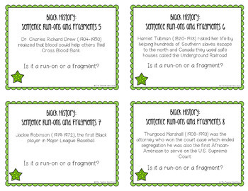 Task Cards for Black History: Sentence Run-Ons and Fragments for 3rd - 5th Grade