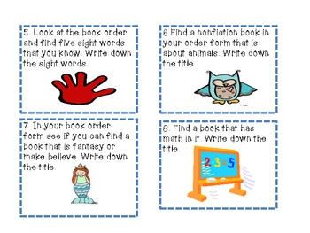 Task Cards for Book Order Forms